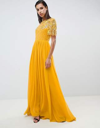 Virgos Lounge rahaya contrast embellished maxi dress in mustard