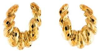 Henry Dunay 18K Large Hammered Clip-On Earrings