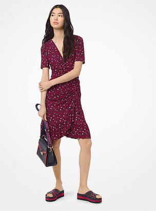 MICHAEL Michael Kors Heart-Print Ruched Matte-Jersey Dress