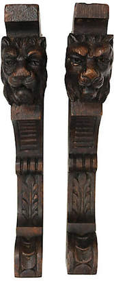 One Kings Lane Vintage Antique Carved Lion Shelf Brackets - Set of 2 - Rose Victoria