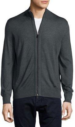 Ermenegildo Zegna High-Collar Full-Zip Cardigan, Dark Gray $995 thestylecure.com