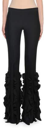 Giambattista Valli Ruffled-Leg Mid-Rise Pants