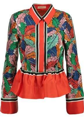 Emilio Pucci Printed Silk-Twill Peplum Shirt