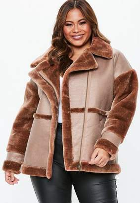 Missguided Plus Size Brown Faux Fur Sleeve Aviator Jacket