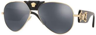 02806dfde Versace Men's Medusa Leather-Wrap Aviator Sunglasses - Mirror Lenses