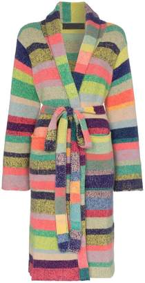 The Elder Statesman stripe belted cashmere cardigan