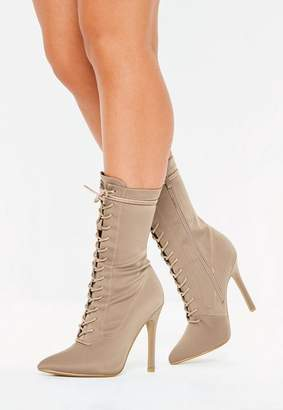 Missguided Nude Lace Up Stiletto Heel Ankle Boots