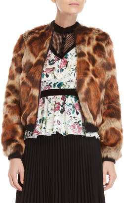 Manoush Animal Print Faux Fur Jacket
