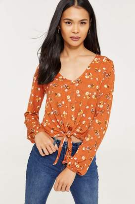 Ardene Floral Button Front Knotted Top