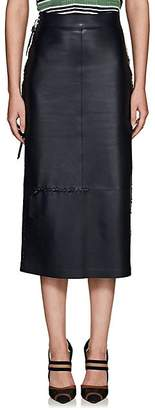 Fendi Women's Stitched Leather Pencil Skirt - Navy