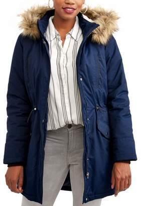 Time and Tru Women's Heavyweight Parka Jacket With Faux Fur-Trim Hood