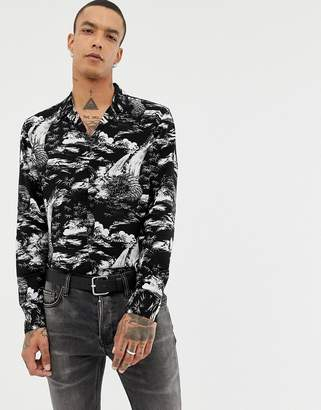 AllSaints Revere Collar Shirt With Tiger Monochome Print