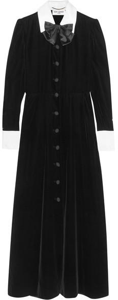 Saint LaurentSaint Laurent - Satin And Twill-trimmed Velvet Dress - Black