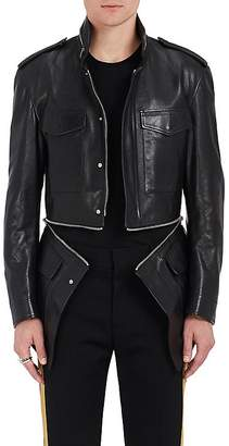 Alexander McQueen Men's Zip-Detailed Leather Military Jacket
