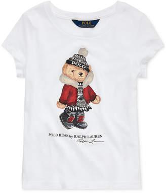 Polo Ralph Lauren Toddler Girl Holiday Bear Cotton Jersey T-Shirt