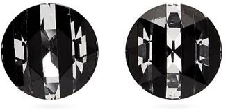 Saint Laurent Round Cut Crystal Clip Earrings - Womens - Black