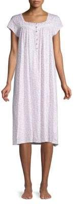 Eileen West Cap-Sleeve Lace-Trimmed Cotton Nightgown