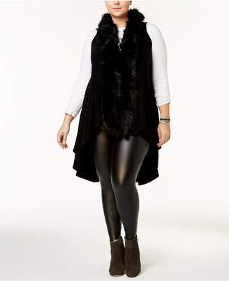 Say What Trendy Plus Size Faux-Fur Sweater Vest