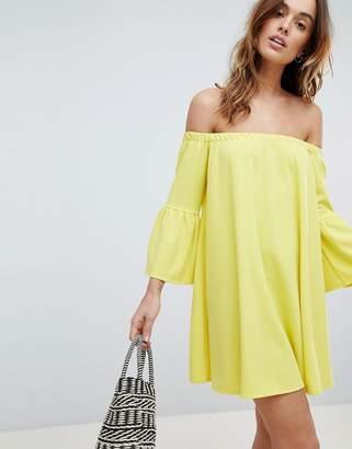 Asos Design Off Shoulder Dress with Bell Sleeve