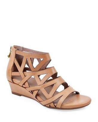 Bettye Muller Concept Sashi Burnished Leather Caged Wedge Sandals