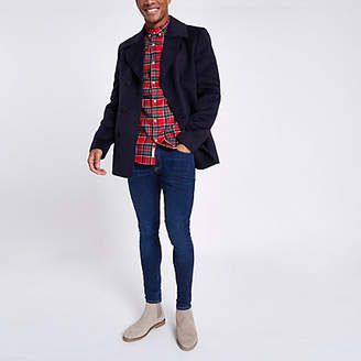 River Island Navy double breasted peacoat