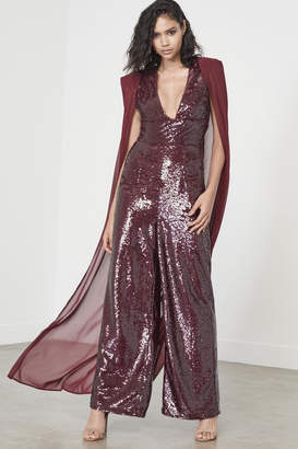 Wet Look Sequin Chiffon Cape Wide Leg Jumpsuit