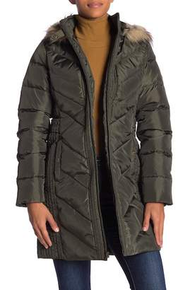 Larry Levine Quilted Down Faux Fur Hood Coat