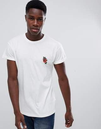 New Look t-shirt with rose embroidery in white