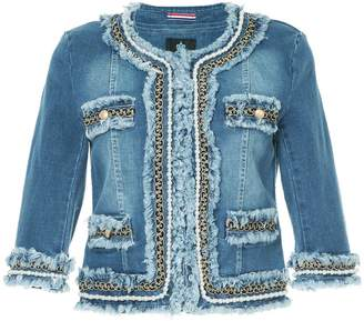 GUILD PRIME embellished collarless denim jacket