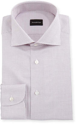 Ermenegildo Zegna Micro-Box Check Cotton Dress Shirt