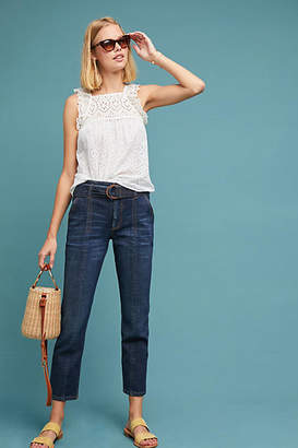 Pilcro and the Letterpress Pilcro Belted Ultra High-Rise Slim Straight Jeans