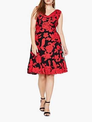 Ottoline Floral Tapework Dress, Black/Red