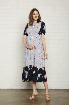 Maternity Crepe Regina Dress - Black / Blue Flower,