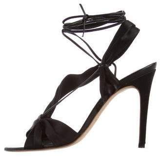 Max Mara Satin Lace-Up Heels