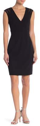 JS Boutique Mesh Inset Crepe Sheath Dress