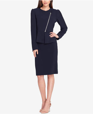 Tahari ASL Asymmetrical Zip-Front Skirt Suit