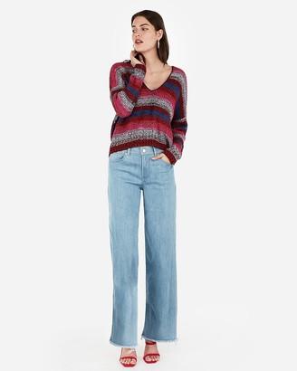 Express Striped Split Back V-Neck Sweater