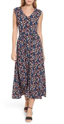 Chaus Tie Waist Print Maxi Dress