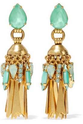 Elizabeth Cole 24-Karat Gold-Plated Swarovski Crystal Earrings