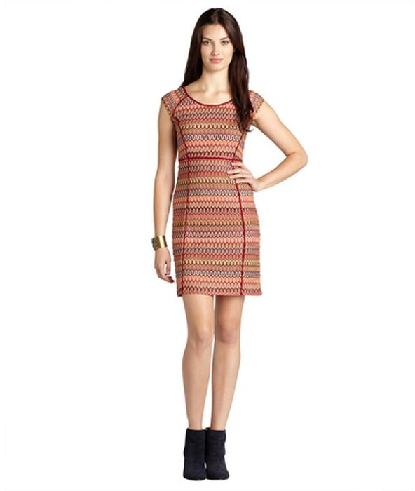 Donna Morgan burgundy and marigold wave striped cap sleeve stretch dress