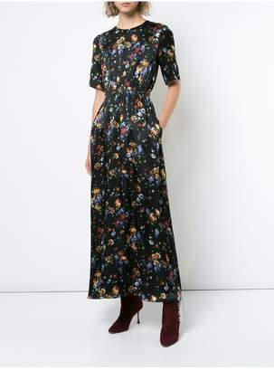 ADAM by Adam Lippes Floral Hammered Silk Maxi Dress With Smocked Waist