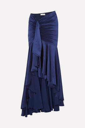 Caroline Constas Elise Ruched Draped Silk-satin Maxi Skirt - Navy