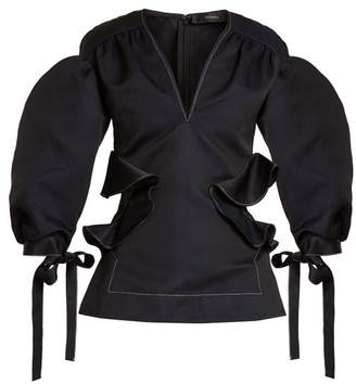Ellery Angel Puff Sleeved Ruffle Trimmed Top - Womens - Black