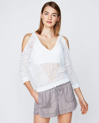 Express Open Stitch Cold Shoulder Pullover Sweater