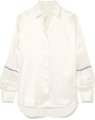 Victoria Beckham Printed Silk-satin Shirt - White