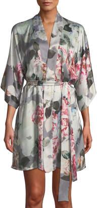 Christine Lingerie Jolie Floral-Print Silk Short Robe