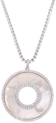 "Nina Silver-Tone Crystal & Imitation Mother-of-Pearl Pendant Necklace, 17"" + 3"" extender"