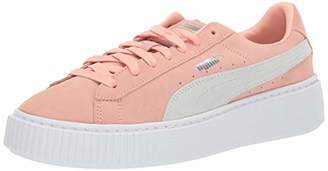 Puma Women's Suede Platform Sneaker Peach Bud Silver