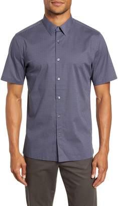 Theory Irving Slim Fit Dot Print Short Sleeve Button-Up Shirt
