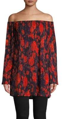 Context Floral Pleated Off-Shoulder Tunic